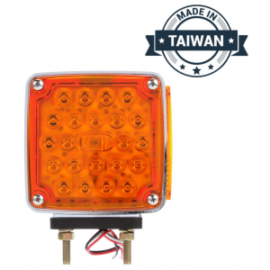 TR56135 LED, Red/Yellow Square, 24 Diode, LH, Dual Face, Vertical Mount, Side Marker, Pedestal Light, 2 Stud, Stripped End/Ring Terminal (Made in Taiwan)