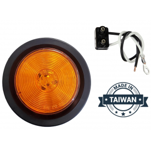 TR56145 LED, Yellow Round, 13 Diode, Marker Clearance Light with Grommet and Wiring (Made in Taiwan)